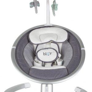 Blij'r Derk Plus - baby schommelstoeltje met bluetooth en Zonnekap met klamboe - Grijs