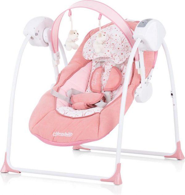 Elektrische babyschommel Chipolino Lullaby oud roze, schommelstoel met bluetooth