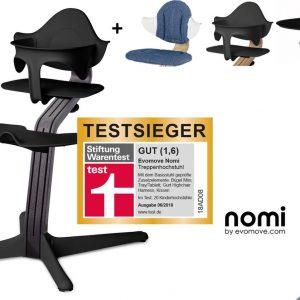 NOMI highchair kinderstoel complete set vanaf de geboorte Basis eiken zwart stained en stoel zwart