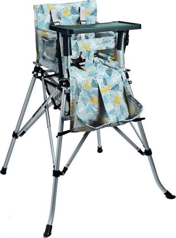 One2Stay Basic+, Opvouwbare Kinderstoel met 5 punts veiligheidsgordel en afneembaar eetplateau - Feather-Blue