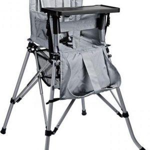 One2Stay Comfort, Opvouwbare Kinderstoel met een comfortabel verstelbare rugleuning, 5 punts veiligheidsgordel en afneembaar eetplateau - - Zilvergrijs