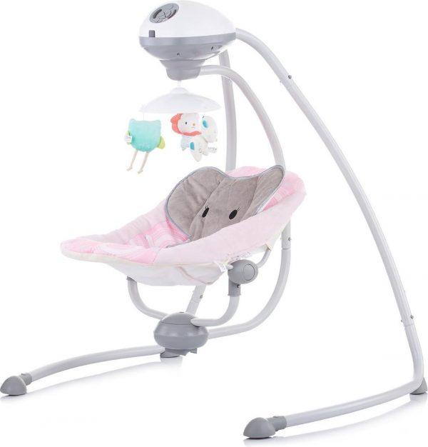 Schommelstoel Chipolino Aida Roze Dumbo, geschikt voor newborns!