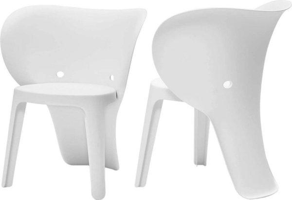 Simpletrade Kinderstoel - Stoelen - Olifant - Set van 2 - Wit - 48x55x41 cm