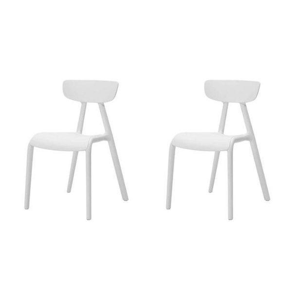 Simpletrade Kinderstoel - Stoelen - Set van 2 - Milieuvriendelijk - Wit - 36x58x40 cm