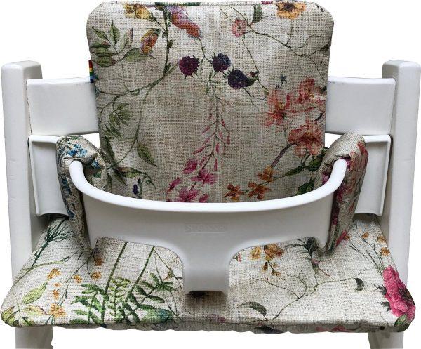 Geplastificeerd kussenset voor de Tripp Trapp kinderstoel van Stokke - Linnen flowers