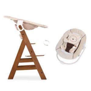 Hauck Kinderstoel Alpha Plus B walnoot inclusief Hauck wipstoeltje 2-in-1 Hearts beige