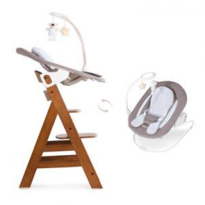 hauck Kinderstoel Alpha plus walnut inclusief Bouncer Deluxe Sand