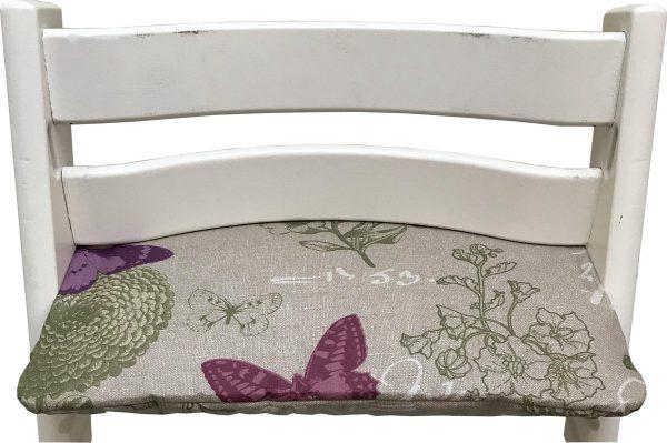 Geplastificeerd zitkussen voor de Tripp Trapp kinderstoel van Stokke - Botanische vlinder