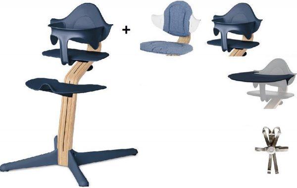 NOMI highchair kinderstoel Ideale set vanaf 6 maanden Basis eiken wit oiled, stoel Navy