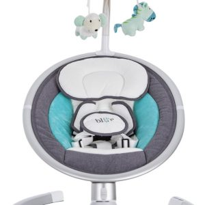 Blij'r Derk Plus - baby schommelstoeltje met bluetooth en Zonnekap met klamboe - Turquoise