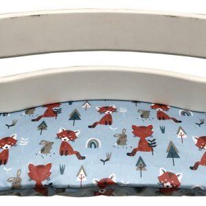 Geplastificeerd zitkussen voor de Tripp Trapp kinderstoel van Stokke -Vos en haas lichtblauw