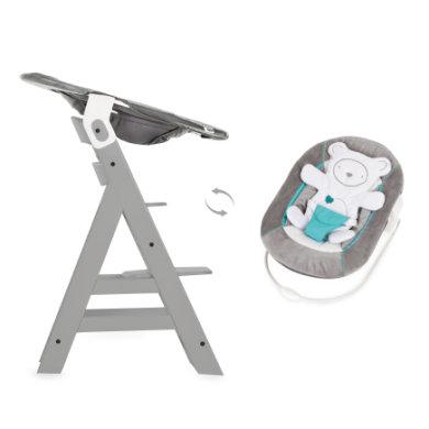 Hauck Kinderstoel Alpha Plus B grey inclusief Hauck wipstoeltje 2-in-1 Hearts grey