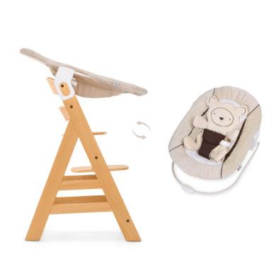 Hauck Kinderstoel Alpha Plus B natuur inclusief Hauck wipstoeltje 2-in-1 Hearts, beige