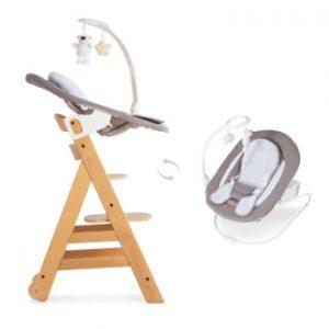 Hauck Kinderstoel Alpha Plus B natuur inclusief Hauck wipstoeltje 2-in-1 Hearts beige