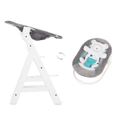 Hauck Kinderstoel Alpha Plus B white inclusief Hauck wipstoeltje 2-in-1 Hearts grey