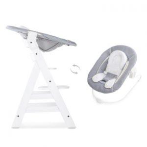 Hauck Kinderstoel Alpha Plus B white inclusief Hauck wipstoeltje 2-in-1 Stretch grey