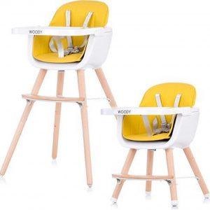 Kinderstoel Chipolino Woody geel mee groei stoel geschikt vanaf 6+ maanden