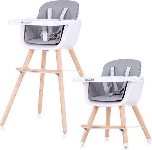 Kinderstoel Chipolino Woody grijs mee groei stoel geschikt vanaf 6+ maanden