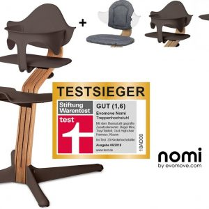 NOMI highchair kinderstoel Ideale set vanaf 6 maanden Basis eiken nature oiled en stoel coffee