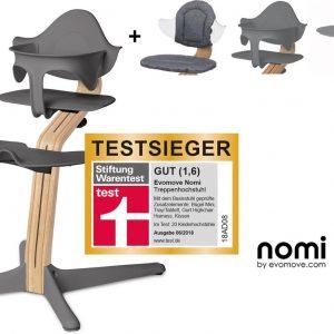 NOMI highchair kinderstoel Ideale set vanaf 6 maanden Basis eiken wit oiled en stoel grijs