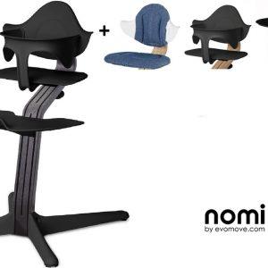 NOMI highchair kinderstoel Ideale set vanaf 6 maanden Basis eiken zwart stained en stoel zwart