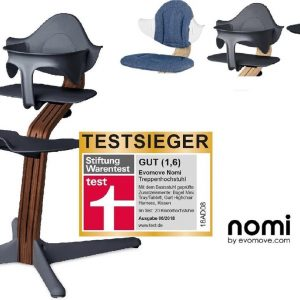 NOMI highchair kinderstoel Ideale set vanaf 6 maanden Basis walnoot nature oiled en stoel antraciet