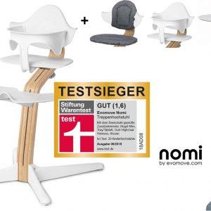 NOMI highchair kinderstoel complete set vanaf de geboorte Basis eiken wit oiled en stoel wit