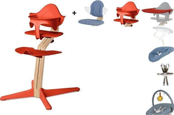 NOMI highchair kinderstoel complete set vanaf de geboorte Basis eiken wit oiled, stoel Burned Orange