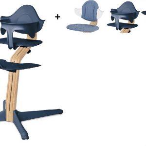 NOMI highchair kinderstoel complete set vanaf de geboorte Basis eiken wit oiled, stoel Navy