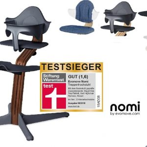 NOMI highchair kinderstoel complete set vanaf de geboorte Basis walnoot nature oiled en stoel antraciet