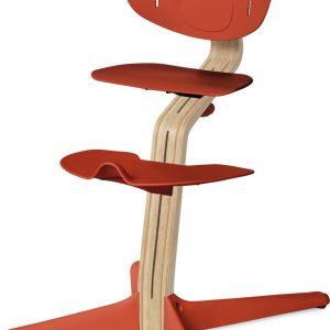 NOMI highchair kinderstoel meegroeistoel Basis eiken wit oiled en stoel Burned orange