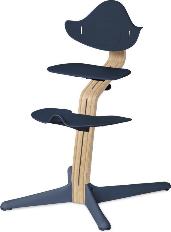 NOMI highchair kinderstoel meegroeistoel Basis eiken wit oiled en stoel Navy