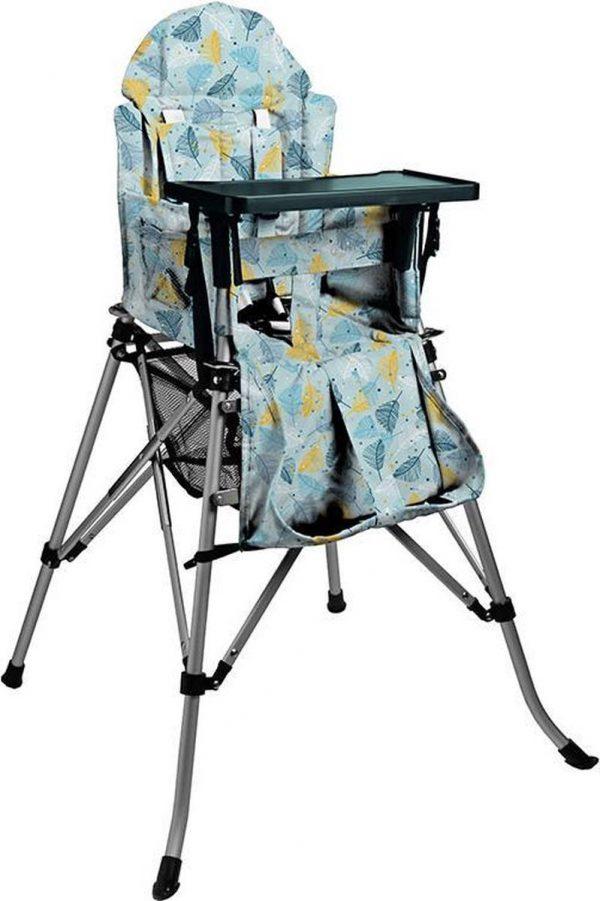 One2Stay Comfort, Opvouwbare Kinderstoel met een comfortabel verstelbare rugleuning, 5 punts veiligheidsgordel en afneembaar eetplateau -Feather-Blue