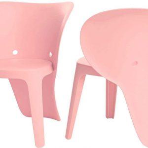 Simpletrade Kinderstoel - Stoelen - Olifant - Set van 2 - Roze - 48x55x41 cm
