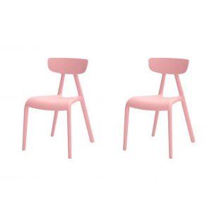 Simpletrade Kinderstoel - Stoelen - Set van 2 - Milieuvriendelijk - Roze - 36x58x40 cm