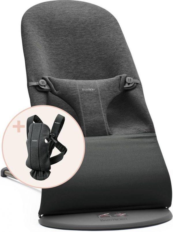BABYBJÖRN Wipstoel Bliss Bundle - Houtskoolgrijs 3D Jersey incl Draagzak Mini Houtskoolgrijs 3D Jersey