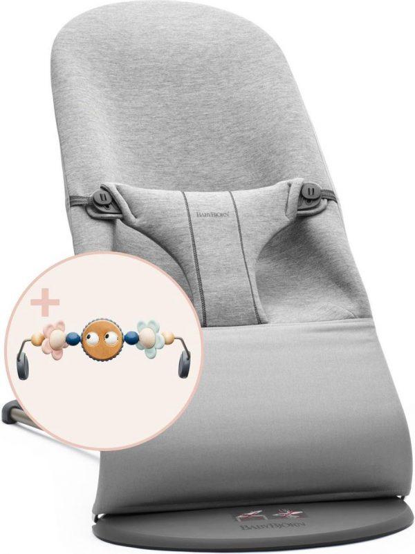 BABYBJÖRN Wipstoel Bliss Bundle - Lichtgrijs 3D Jersey incl Speelboog Ondeugende oogjes Pastel