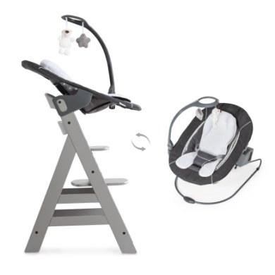 hauck Kinderstoel Alpha plus Grey inclusief wipstoel Deluxe Melange Grey