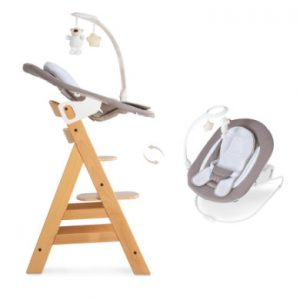 hauck Kinderstoel Alpha plus natuur inclusief Bouncer Deluxe Sand