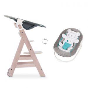 hauck Kinderstoel Beta Plus Whitewashed inclusief wipstoel 2in1 harten grijs