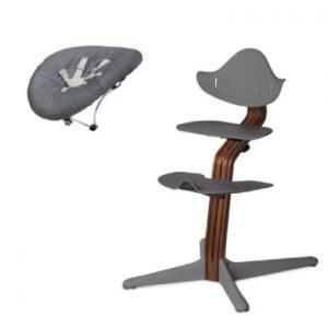 nomi by evomove Kinderstoel Complete Set met wipstoel walnoot/grijs