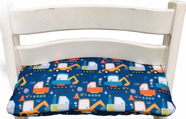 Gecoat zitkussen voor de Tripp Trapp kinderstoel van Stokke - Graafmachines blauw