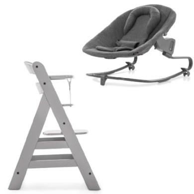 hauck Kinderstoel Alpha Plus Grijs inclusief wipstoel Premium Jersey Charcoal