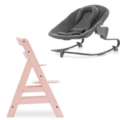 hauck Kinderstoel Alpha Plus Rose inclusief wipstoeltje Premium Jersey Charcoal