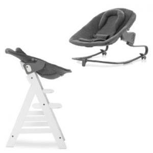 hauck Kinderstoel Alpha Plus White inclusief wipstoeltje Premium Jersey Charcoal