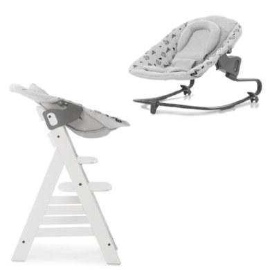 hauck Kinderstoel Alpha Plus White inclusief wipstoeltje Premium Nordic Grijs