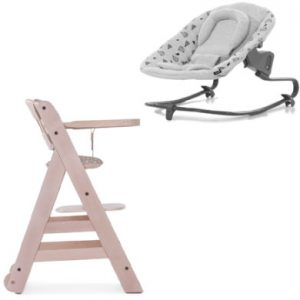 hauck Kinderstoel Beta Plus White washed /Dots inclusief wipstoeltje Premium Nordic Grijs