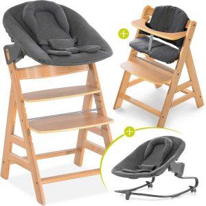 Hauck Alpha Plus Kinderstoel - Newborn Set Premium - Hout / Jersey Charcoal