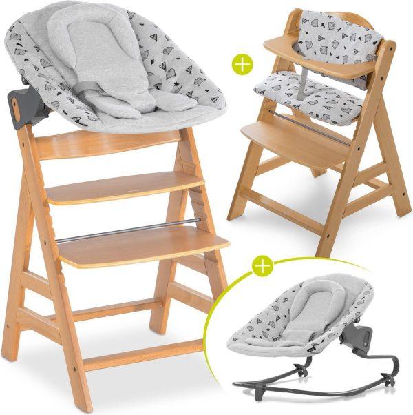 Hauck Alpha Plus Kinderstoel - Newborn Set Premium - Hout / Nordic Grey