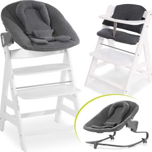 Hauck Alpha Plus Kinderstoel - Newborn Set Premium - Wit / Jersey Charcoal